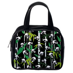 Satisfied And Happy Panda Babies On Bamboo Classic Handbags (one Side) by EDDArt