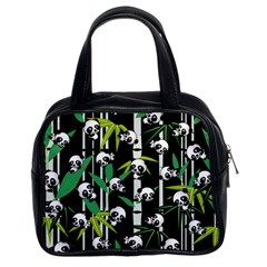Satisfied And Happy Panda Babies On Bamboo Classic Handbags (2 Sides) by EDDArt