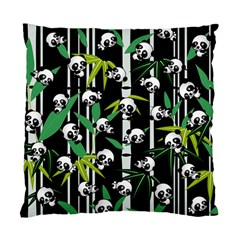 Satisfied And Happy Panda Babies On Bamboo Standard Cushion Case (one Side) by EDDArt