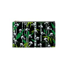 Satisfied And Happy Panda Babies On Bamboo Cosmetic Bag (small)  by EDDArt