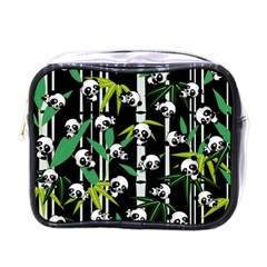 Satisfied And Happy Panda Babies On Bamboo Mini Toiletries Bags by EDDArt