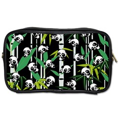 Satisfied And Happy Panda Babies On Bamboo Toiletries Bags by EDDArt