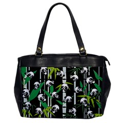 Satisfied And Happy Panda Babies On Bamboo Office Handbags by EDDArt