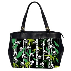 Satisfied And Happy Panda Babies On Bamboo Office Handbags (2 Sides)  by EDDArt