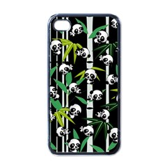 Satisfied And Happy Panda Babies On Bamboo Apple Iphone 4 Case (black) by EDDArt