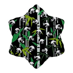 Satisfied And Happy Panda Babies On Bamboo Snowflake Ornament (two Sides) by EDDArt