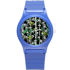 Satisfied And Happy Panda Babies On Bamboo Round Plastic Sport Watch (s) by EDDArt