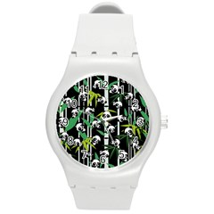 Satisfied And Happy Panda Babies On Bamboo Round Plastic Sport Watch (m) by EDDArt