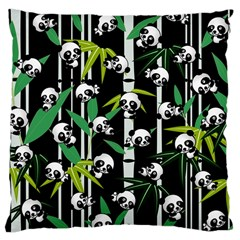 Satisfied And Happy Panda Babies On Bamboo Large Cushion Case (one Side) by EDDArt