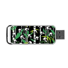 Satisfied And Happy Panda Babies On Bamboo Portable Usb Flash (one Side) by EDDArt