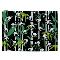 Satisfied And Happy Panda Babies On Bamboo Cosmetic Bag (xxl)  by EDDArt