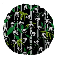 Satisfied And Happy Panda Babies On Bamboo Large 18  Premium Round Cushions by EDDArt