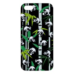 Satisfied And Happy Panda Babies On Bamboo Apple Iphone 5 Premium Hardshell Case by EDDArt