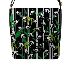 Satisfied And Happy Panda Babies On Bamboo Flap Messenger Bag (l)  by EDDArt