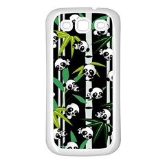Satisfied And Happy Panda Babies On Bamboo Samsung Galaxy S3 Back Case (white) by EDDArt