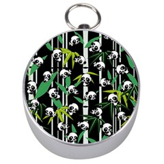 Satisfied And Happy Panda Babies On Bamboo Silver Compasses by EDDArt