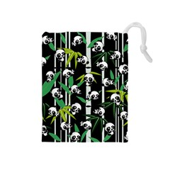 Satisfied And Happy Panda Babies On Bamboo Drawstring Pouches (medium)  by EDDArt