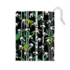 Satisfied And Happy Panda Babies On Bamboo Drawstring Pouches (large)  by EDDArt