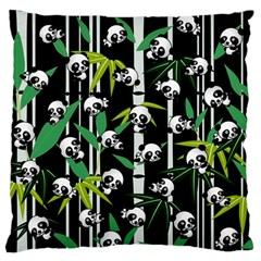 Satisfied And Happy Panda Babies On Bamboo Large Flano Cushion Case (two Sides) by EDDArt