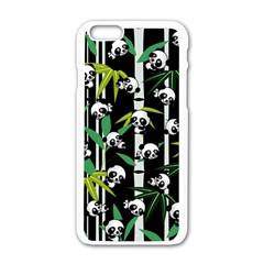 Satisfied And Happy Panda Babies On Bamboo Apple Iphone 6/6s White Enamel Case by EDDArt