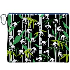 Satisfied And Happy Panda Babies On Bamboo Canvas Cosmetic Bag (xxxl) by EDDArt