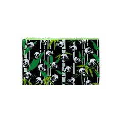 Satisfied And Happy Panda Babies On Bamboo Cosmetic Bag (xs) by EDDArt