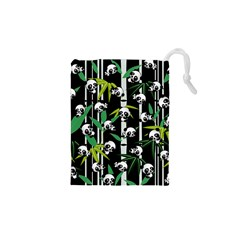 Satisfied And Happy Panda Babies On Bamboo Drawstring Pouches (xs)  by EDDArt