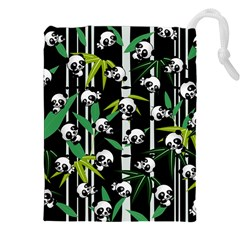 Satisfied And Happy Panda Babies On Bamboo Drawstring Pouches (xxl) by EDDArt