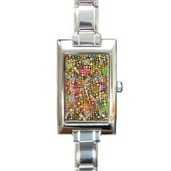 Multicolored Retro Spots Polka Dots Pattern Rectangle Italian Charm Watch by EDDArt