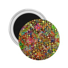 Multicolored Retro Spots Polka Dots Pattern 2 25  Magnets by EDDArt