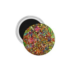 Multicolored Retro Spots Polka Dots Pattern 1 75  Magnets by EDDArt