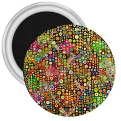Multicolored Retro Spots Polka Dots Pattern 3  Magnets by EDDArt