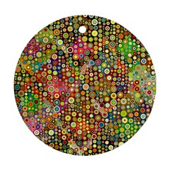 Multicolored Retro Spots Polka Dots Pattern Ornament (round) by EDDArt