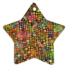 Multicolored Retro Spots Polka Dots Pattern Ornament (star) by EDDArt