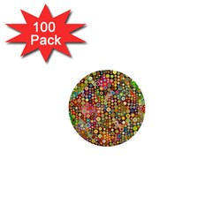 Multicolored Retro Spots Polka Dots Pattern 1  Mini Buttons (100 Pack)  by EDDArt