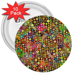 Multicolored Retro Spots Polka Dots Pattern 3  Buttons (10 Pack)  by EDDArt