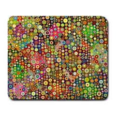 Multicolored Retro Spots Polka Dots Pattern Large Mousepads by EDDArt