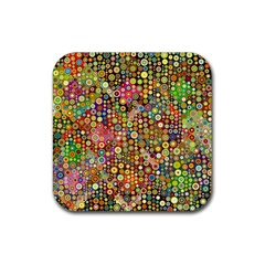 Multicolored Retro Spots Polka Dots Pattern Rubber Coaster (square)  by EDDArt