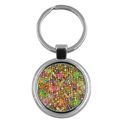 Multicolored Retro Spots Polka Dots Pattern Key Chains (round)  by EDDArt