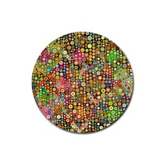 Multicolored Retro Spots Polka Dots Pattern Rubber Coaster (round)  by EDDArt