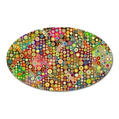 Multicolored Retro Spots Polka Dots Pattern Oval Magnet by EDDArt