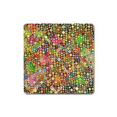 Multicolored Retro Spots Polka Dots Pattern Square Magnet by EDDArt