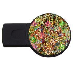 Multicolored Retro Spots Polka Dots Pattern Usb Flash Drive Round (2 Gb) by EDDArt