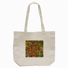 Multicolored Retro Spots Polka Dots Pattern Tote Bag (cream) by EDDArt