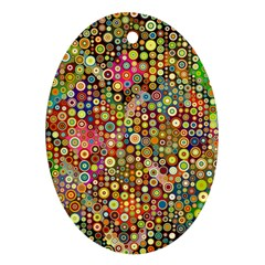 Multicolored Retro Spots Polka Dots Pattern Oval Ornament (two Sides) by EDDArt