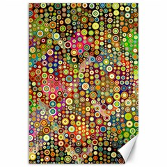 Multicolored Retro Spots Polka Dots Pattern Canvas 12  X 18   by EDDArt