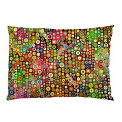 Multicolored Retro Spots Polka Dots Pattern Pillow Case by EDDArt