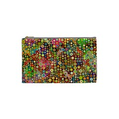 Multicolored Retro Spots Polka Dots Pattern Cosmetic Bag (small)  by EDDArt