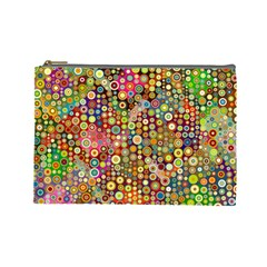 Multicolored Retro Spots Polka Dots Pattern Cosmetic Bag (large)  by EDDArt