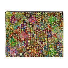 Multicolored Retro Spots Polka Dots Pattern Cosmetic Bag (xl) by EDDArt